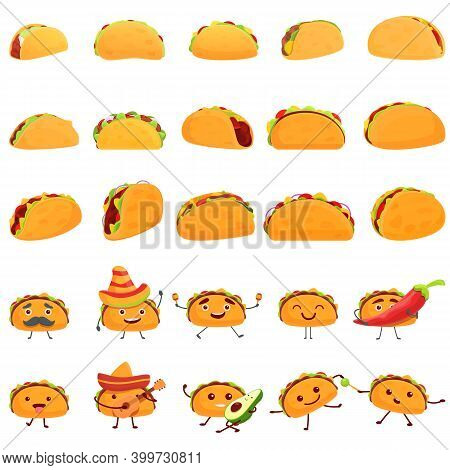 Tacos Icons Set. Cartoon Set Of Tacos Vector Icons For Web Design