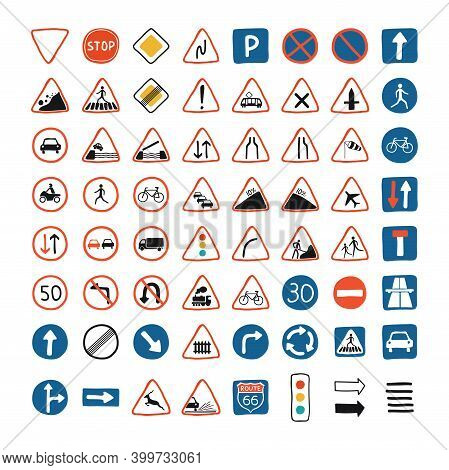 Cute Set With Road Signs And Traffic Lights On A White Background. Traffic Sign Icons Illustration I