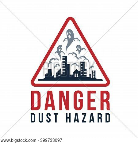 Danger Dust Hazard Concept Dust Devil On Cities With Dust Pollution In Red Triangular Frame Vector D