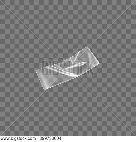 Transparent Adhesive Plastic Tape Isolated On Transparent Background. Crumpled Glue Plastic Sticky T