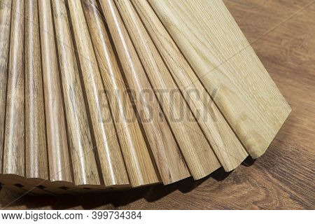 Skirting Board Background. Samples Of Skirting Board  With A Pattern And Wood Texture For Flooring A