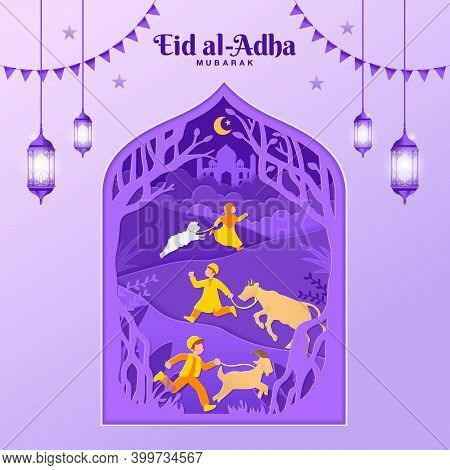 Eid Al-adha Greeting Card Concept Illustration In Paper Cut Style With Kids Bring Goat, Sheep, And C