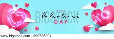 Valentines Day Modern Design For Website Header, Greeting Or Sale Banner, Flyer, Poster In Paper Cut