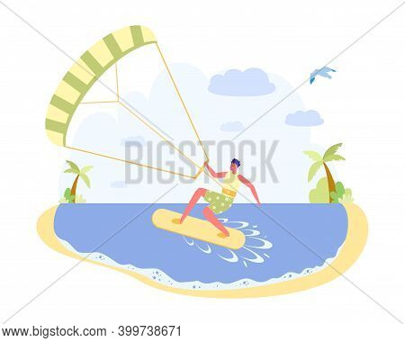 Kiting With Parachute, Gliding By Board On Water. Guy In Sportswear Standing On Special Board, On Hi