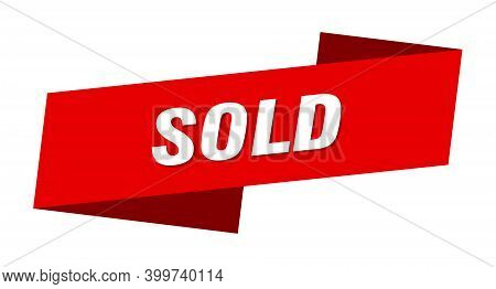 Sold Banner Template. Sold Ribbon Label Sign