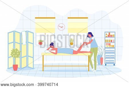 Reflexogenic Foot Massage In Modern Spa Salon. Woman In Medical Uniform Massages Foot Girl Who, Duri