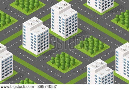 Isometric Module City From Urban Building Architecture.