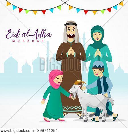 Eid Al Adha Greeting Card. Cartoon Arab Family Celebrating Eid Al Adha With Mosque As Background