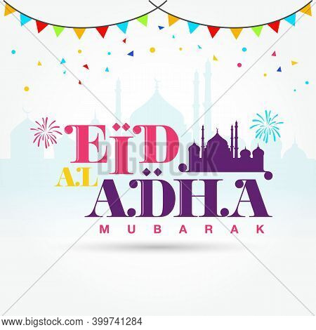 Eid Al Adha Mubarak Logotype With Mosque, Confetti As Background