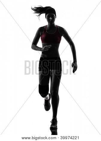 one causasian woman runner running marathon  in silhouette studio isolated on white background