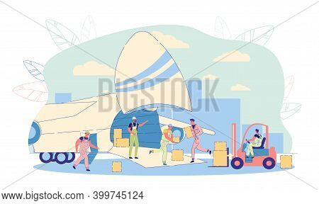 Air Business Freight And International Cargo Shipping. Cargo Plane Loading Scene With Working Airpor