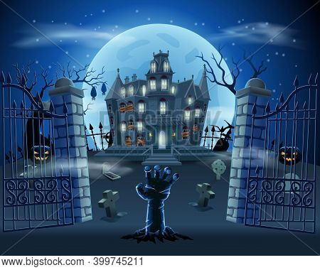 Happy Halloween Background With Scary Pumpkin With Spooky Castle, Flying Ghost And Full Moon. Vector