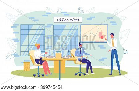 Businessman Presenter And Coworker Team At Office. Business Conference, Briefing Or Meeting. Employe