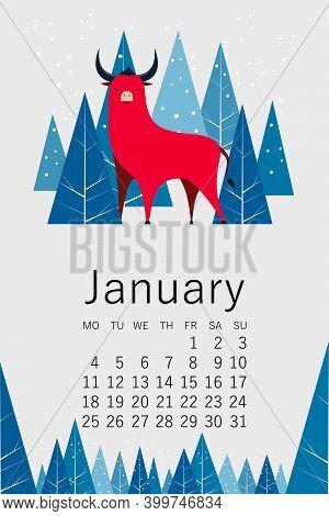 The Calendar. January 2021. Year Of The Bull 2021. Vector Abstract Illustration. Vector Calendar For