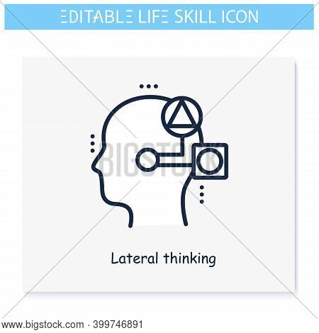 Lateral Thinking Line Icon. Original Solutins, Ideas. Personality Strengths And Characteristics.soft