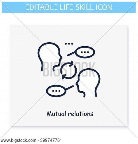 Mutual Relations Line Icon.amity, Sociability, Communication Skill.personality Strengths And Charact