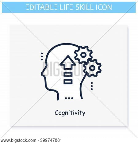 Cognitivity Line Icon. Self Cognition, Personality Improvement. Personality Strengths And Characteri