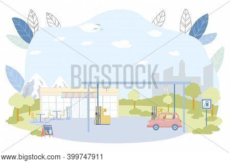 Gas Station Construction Vector Illustration. Car Refill Petrol Or Diesel Fuel At Filling Station. P