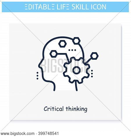 Critical Thinking Line Icon.personality Strengths And Characteristics.soft Skills Concept. Human Res