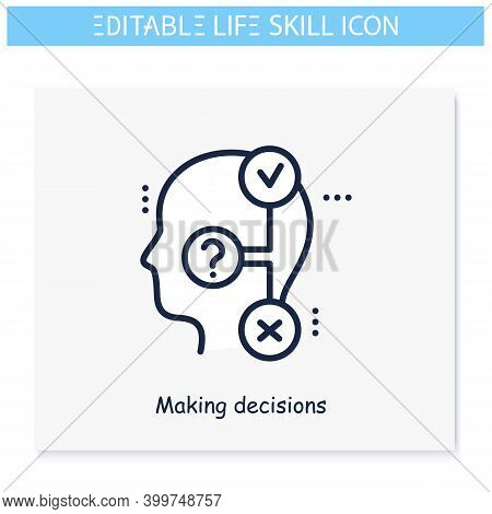 Decisions Making Line Icon. Responsibility. Personality Strengths And Characteristics.soft Skills Co