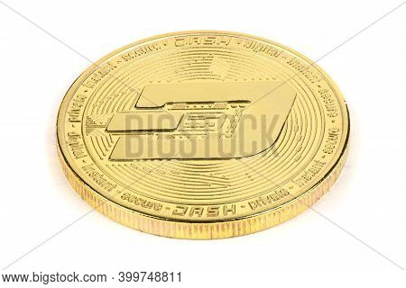 Back Side Of The Crypto Currency Golden Dash Isolated On White Background. High Resolution Photo. Fu