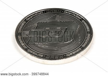 Face Of The Crypto Currency Silver Dash Isolated On White Background. High Resolution Photo. Full De