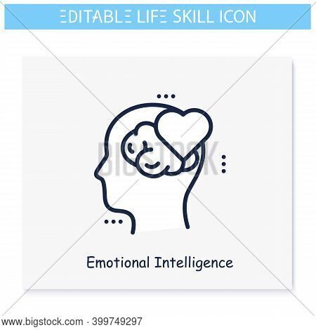 Emotional Intelligence Line Icon. Stress Resistance. Empathy. Personality Strengths And Characterist