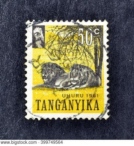 Tanganyika - Circa 1961 : Cancelled Postage Stamp Printed By Tanganyika, That Shows Lions, Circa 196