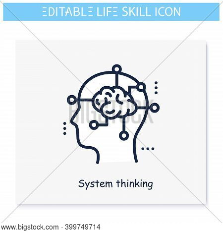 System Thinking Line Icon. Planning, Analyzing. Personality Strengths And Characteristics.soft Skill