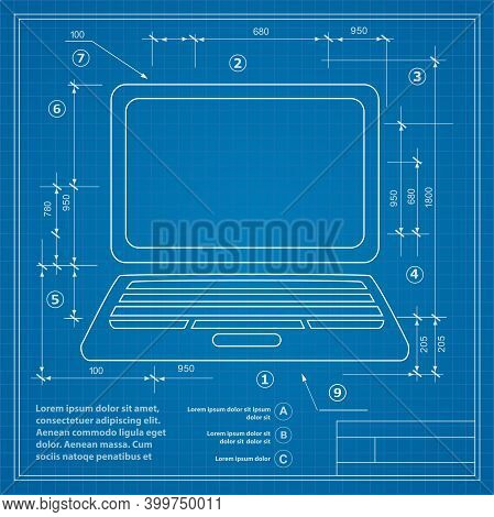 Image Of A Personal Computer On A Blueprint Drawing Background