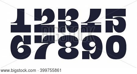 Numeral Font. Font Of Number, Numeral, Modern Fat Style With Contemporary Geometric Design. Trendy T