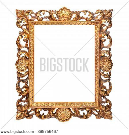 The Frame For A Picture Or A Photograph Is Carved With Luxurious Ornamentation Stylized As A Baroque