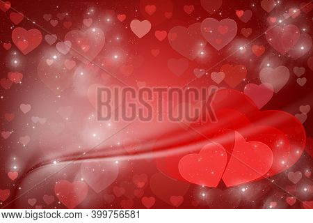 Valentine's Day Abstract Background, Flying Hearts. Hearts, Red Background For Valentine's Day