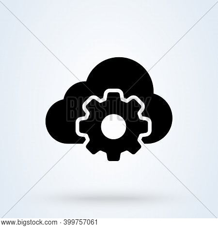 Cloud Storage Settings Sign Icon Or Logo. Web Hosting Preferences Concept. Cloud Security Configure