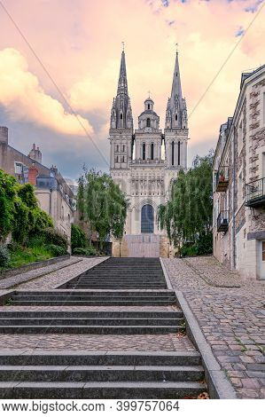 Historic Saint Maurice Cathedral Of Angers. Cathedral- National Monument Of France Tourist Attractio