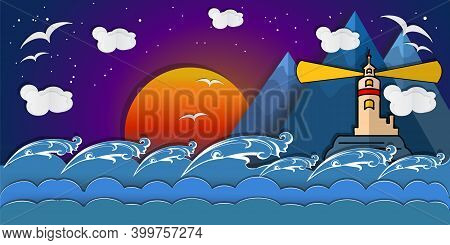Lighthouse With Ocean Paper Art Style Design. Lighthouse With Clouds, Moon, Mountains, Gulls And Wav