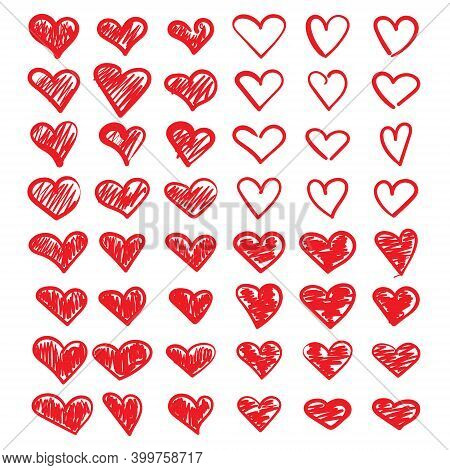 Vector Illustration Of Red Doodle Hearts. A Set Of Hand-drawn Hearts. Doodle Hearts For Valentines D