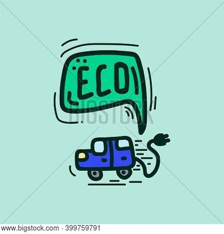Cute Energy Saving Character. Natural Energy Sources Of The Icon. Karakul Energy-saving Machine Is R