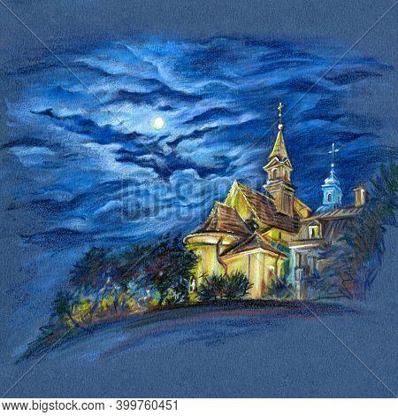 Coplored Pencils Sketch Of Church Of Saint Benson In Warsaw At Moonlit Night, Poland.