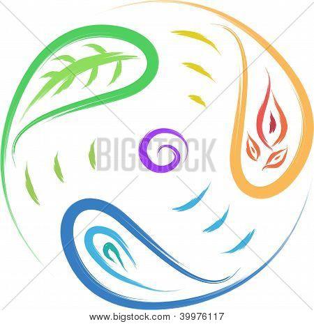 leaf, fire, water