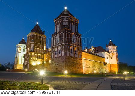 At The Mir Castle On May Evening. Mir, Belarus