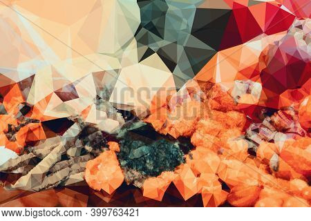 Abstract illustration of multicolor kaleidoscopic polygonal abstract shapes against black background. background with abstract texture with abstract shapes concept