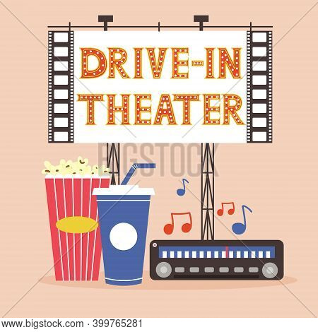 Session Drive-in Theater With Popcorn Soda And Radio. Outdoor Movie Viewing. A Cinema In Nature For