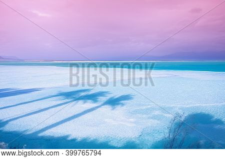 The Texture Of The Dead Sea. Salty Sea Shore Background. The Shadow Of Palm Trees On The Salty Shore