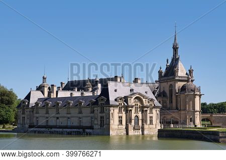 Chantilly, France - May 26 2012: Château De Chantilly In The Department Of Oise In Hauts-de-france.