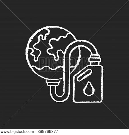 Biological Resources Depletion Chalk White Icon On Black Background. Consumption Of Resources Faster