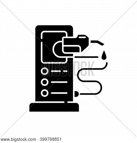 Refueling A Car Black Glyph Icon. Refilling Your Automobile Fuel Tank. Charging Electrocar Batteries