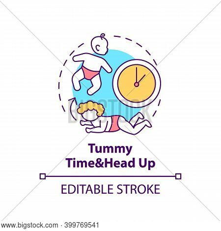 Tummy Time And Head Up Concept Icon. Baby Crawling. Newborn Laying. Early Childhood Development Idea