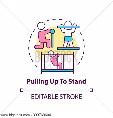 Pulling Up To Stand Concept Icon. First Step To Walking. Baby Physical Ability. Early Childhood Deve