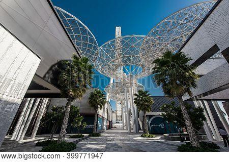 Dubai, Uae, January 20, 2021. Bluewaters Island, Contemporary Architecture At Artificial Island.